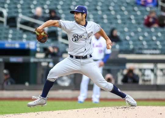 Gio Gonzalez pitched five innings in his first start for the Brewers this season