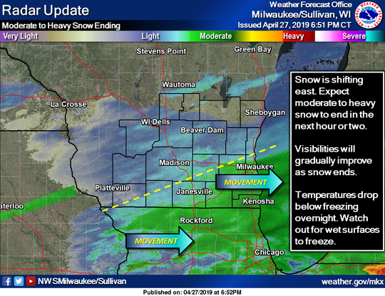 The winter storm moved east Saturday evening.