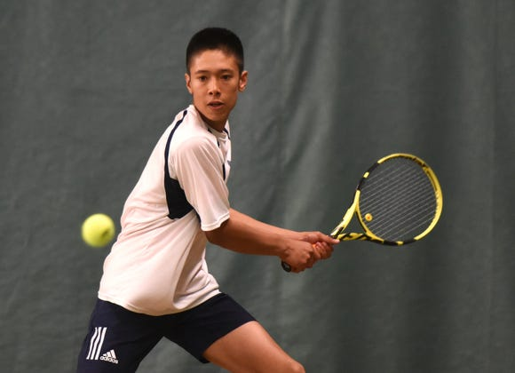 Morris County Tournament tennis finals at the Mendham Tennis Club on Sunday, April 28, 2019. Aidan Sims of Chatham played first doubles with teammate Dennis Isak, not pictured.