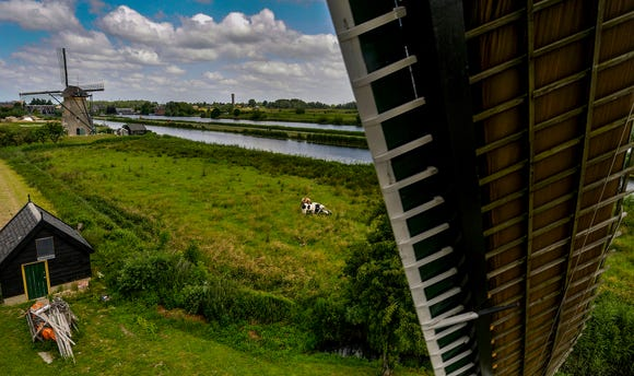 The view from the living quarters of a windmill.