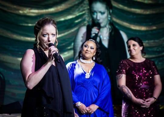 Leah Wooten, who received help through Meridian's Maternal Treatment Program, speaks about her experience during Rialzo X Saturday night. The Rialzo X gala raised funds for Meridian Health Services.
