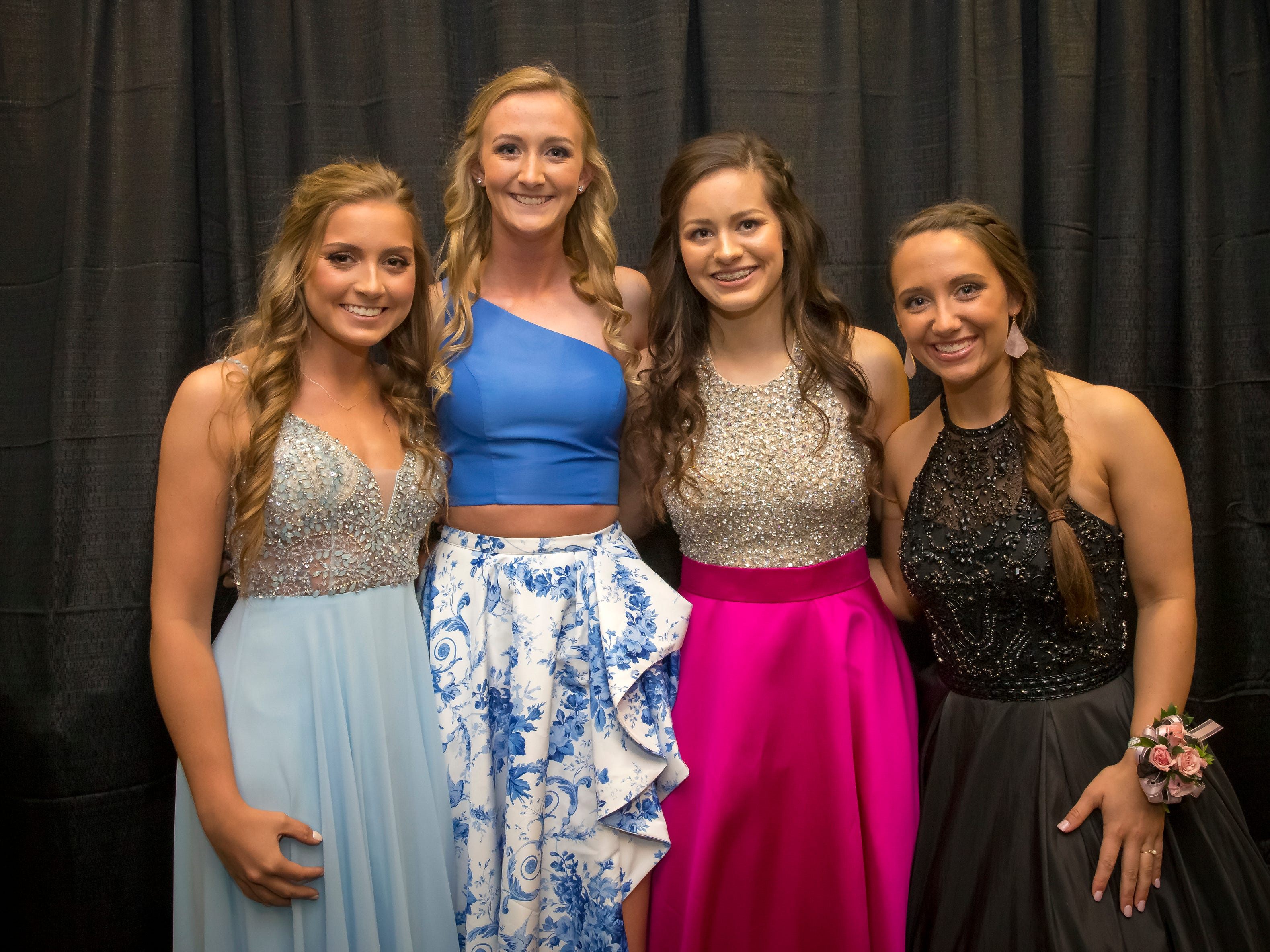 Anna Arbit, Emma Boylan, Sydney Blankenship, Lindsey Bell arrive at the Oakland High School prom held at Lane Agri-Park Saturday, April, 27, 2019 in Murfreesboro.