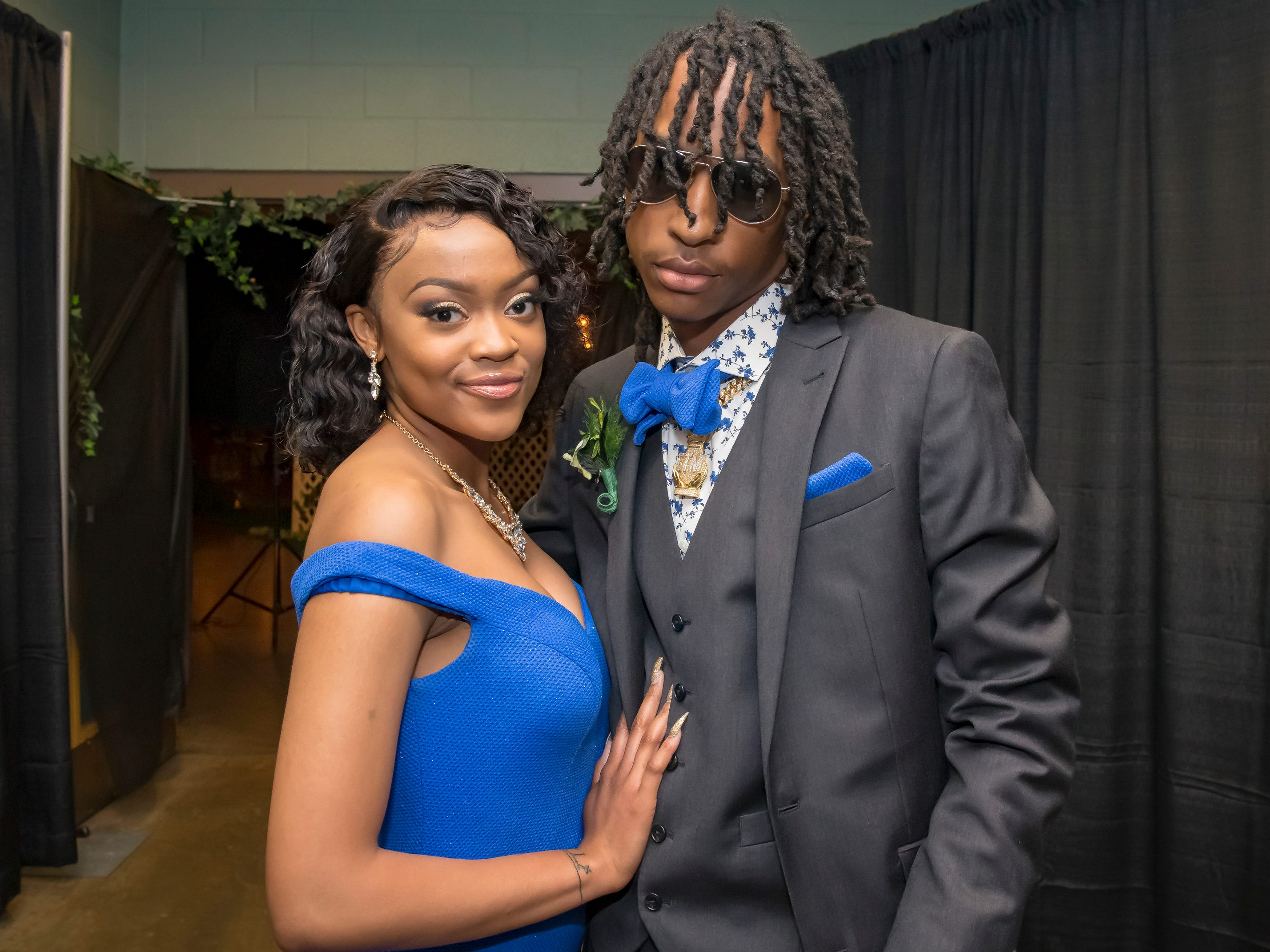 Quintana Lytle and Kaleb Mitchell arrive at the Oakland High School prom held at Lane Agri-Park Saturday, April, 27, 2019 in Murfreesboro.