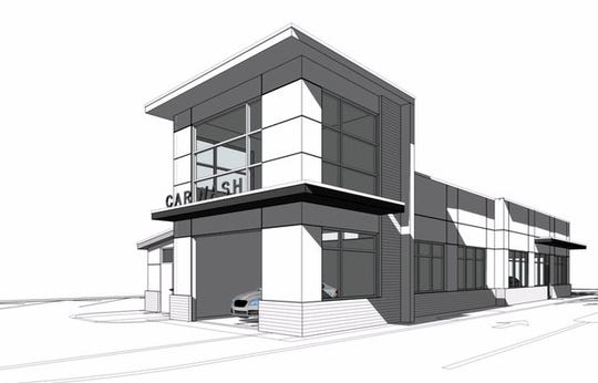 A rendering of the new Luv-A-Wash automated car wash planned to replace the self-service bays at 4712 Golden Gate Parkway in Golden Gate.