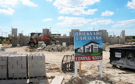 Brickyard Car Wash is under construction between Taco Bell and RaceTrac in Cameron Commons on the north side of Immokalee Road east of Collier Boulevard.