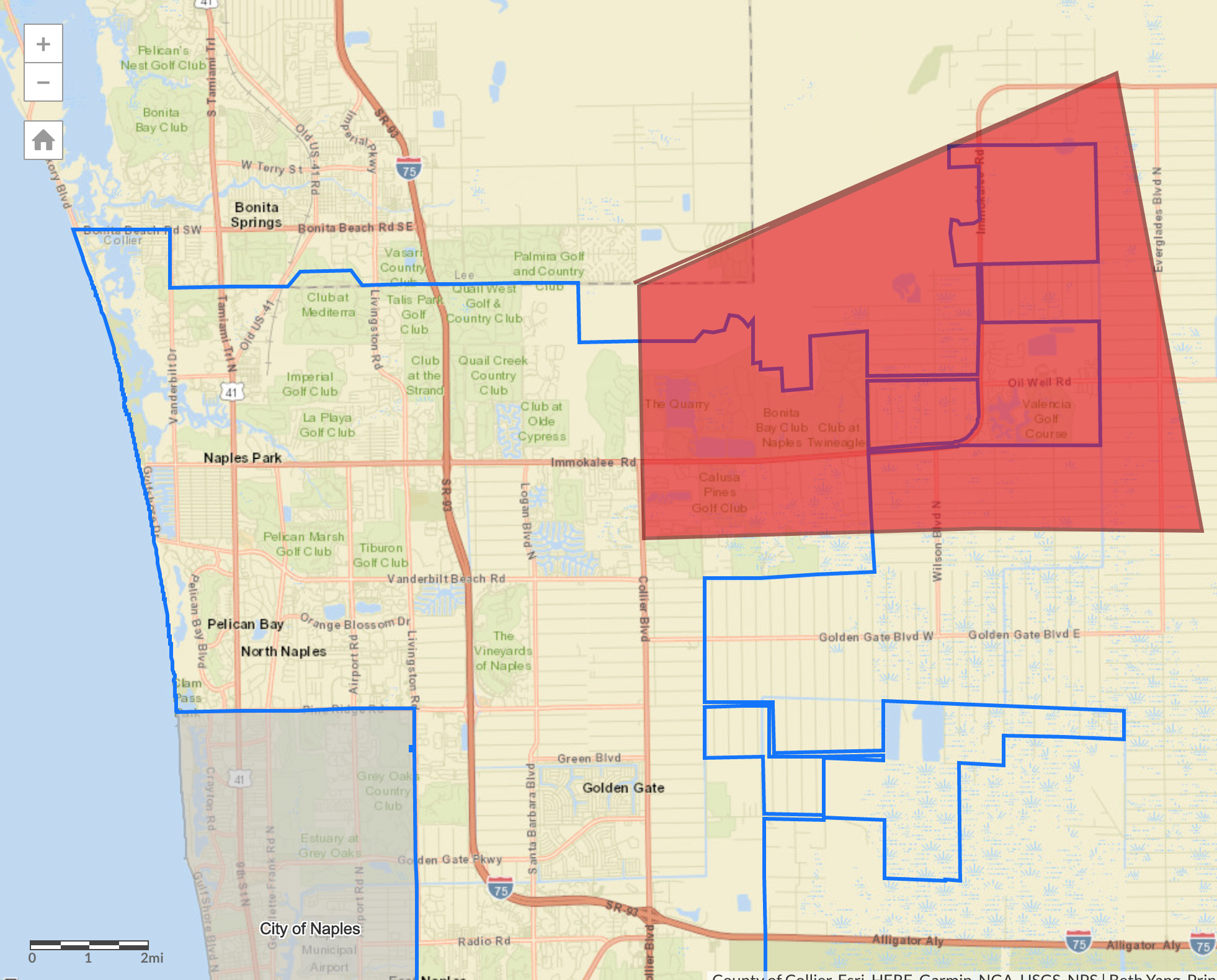 A precautionary boil water order was lifted Monday, April 29, 2019, for the area highlighted in red in Collier County.