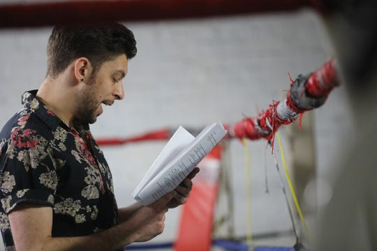 JD Debris reads his poetry at Ike's & Randy's Boxing Gym, during Voices of Poetry - With Gloves Off.  Debris, of Jersey City, is a former amateur boxer. Sunday, April, 28, 2019