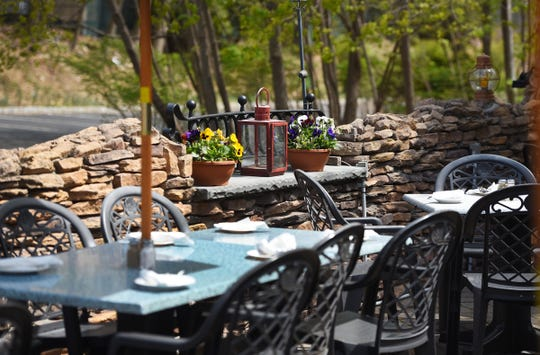 The outdoor patio at Hearth & Tap in Montvale,