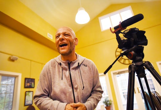 "Paul Bastante, director and writer of ""Hills and Valleys,"" a documentary he is filming about the history of Wayne, lets out a laugh during a recent film shoot."