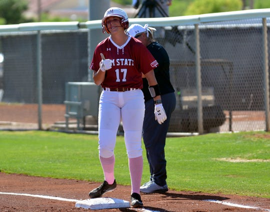 New Mexico State's Kelsey Horton and the Aggies swept a WAC series this weekend against Missouri Kansas City