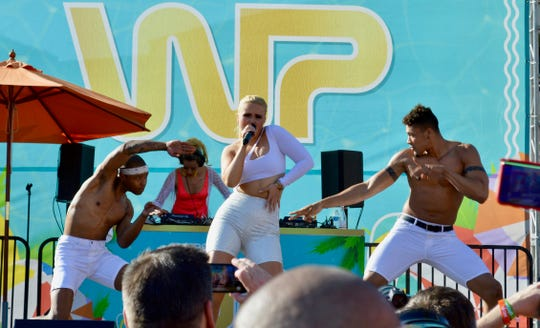Ashlee Keating performs at the White Party's Muscle Pool Party at Hilton Palm Springs on Saturday, April 27, 2019.