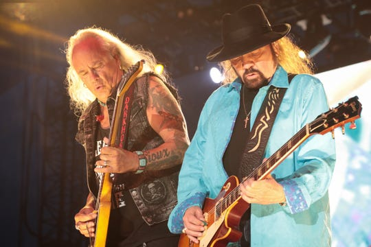Rickey Medlocke and Garry Rossington perform with Lynyrd Skynyrd at the Stagecoach country music festival, Indio, Calif., April 27, 2019.