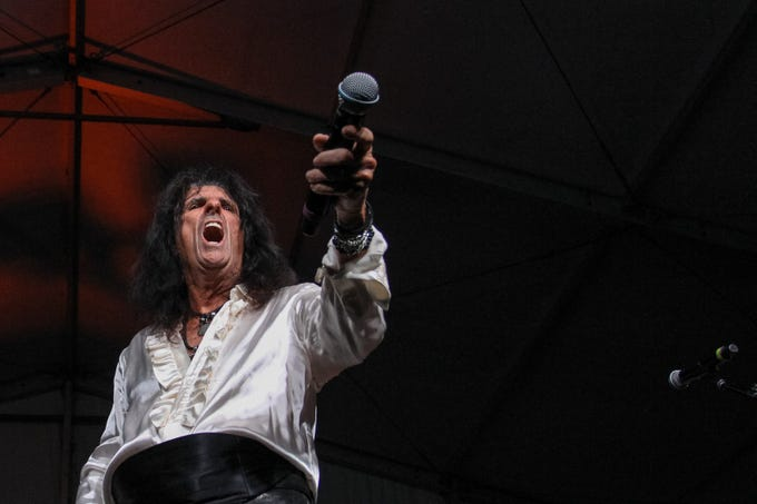 Alice Cooper performs at Alice Cooper's Rock & Roll Fundraising Bash at the Las Sendas Golf Club in Mesa on April 27, 2019.