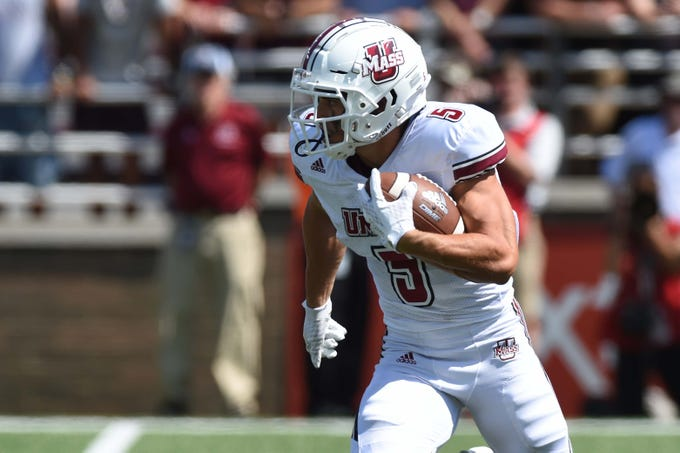 Sep 1, 2018: Massachusetts Minutemen wide receiver Andy Isabella (5) runs the ball during the first half against the Boston College Eagles at Alumni Stadium.