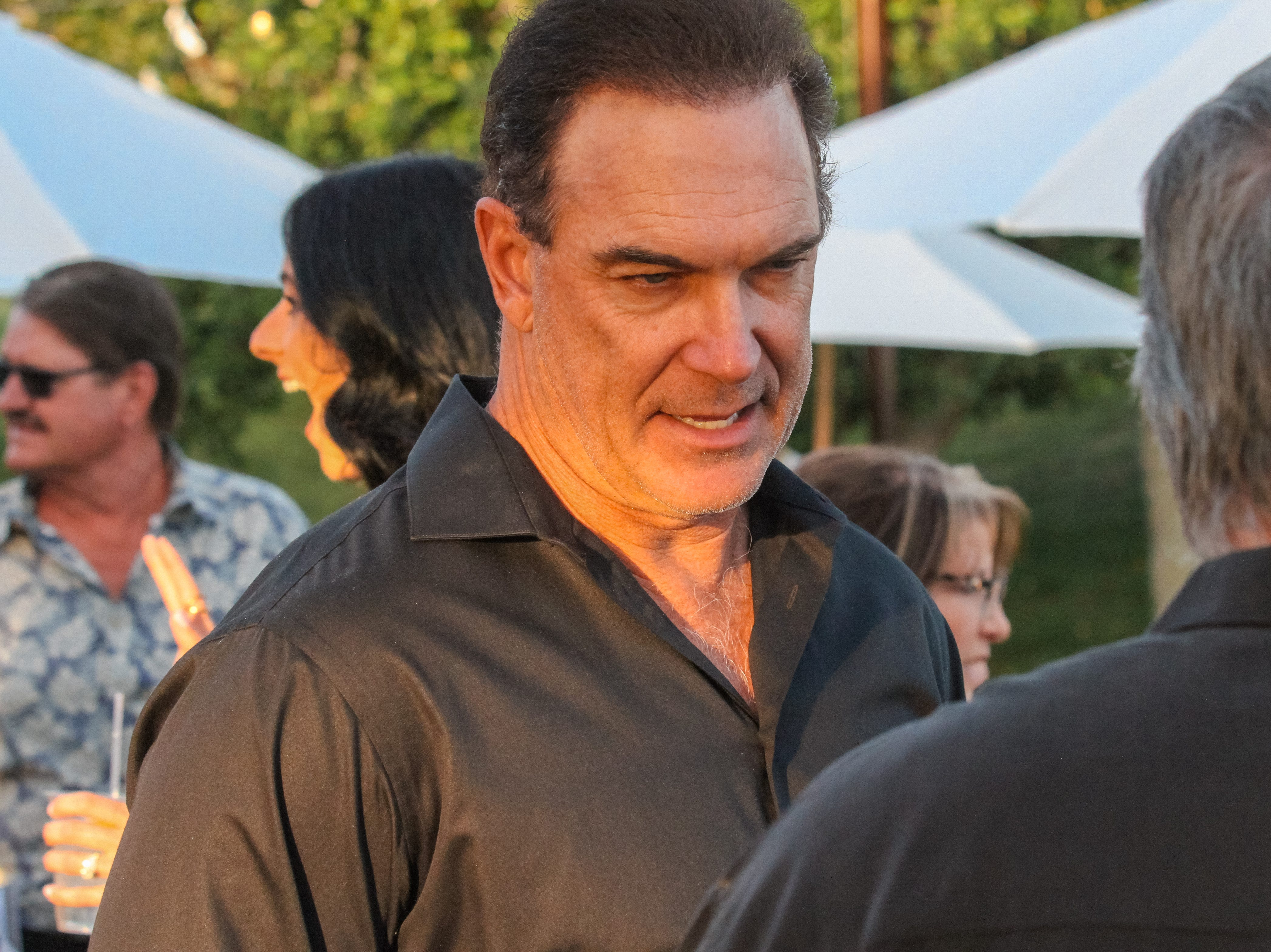 Patrick Warburton visits with guests at Alice Cooper's Rock & Roll Fundraising Bash at the Las Sendas Golf Club in Mesa on April 27, 2019.