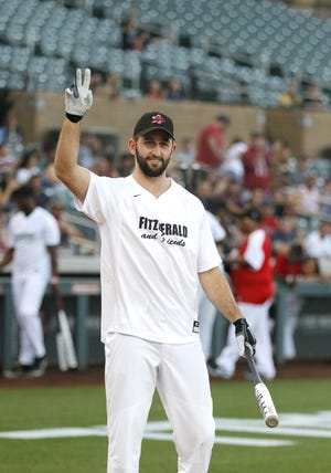 Josh Rosen acknowledges the standing ovation he got during Larry Fitzgerald's softball game on Saturday.