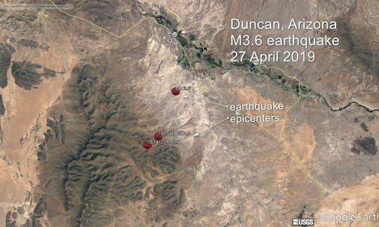 The Arizona Geological Survey said the earthquake rattled the Duncan/Safford area.