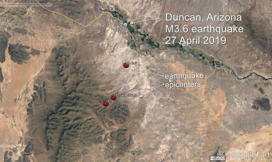 The Arizona Geological Survey said the earthquake rattled the Duncan/Safford area.