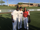 Josh Rosen poses with Chandler Jones and Larry Fitzgerald at Fitzgerald's celebrity softball game at Salt River Fields on Saturday.