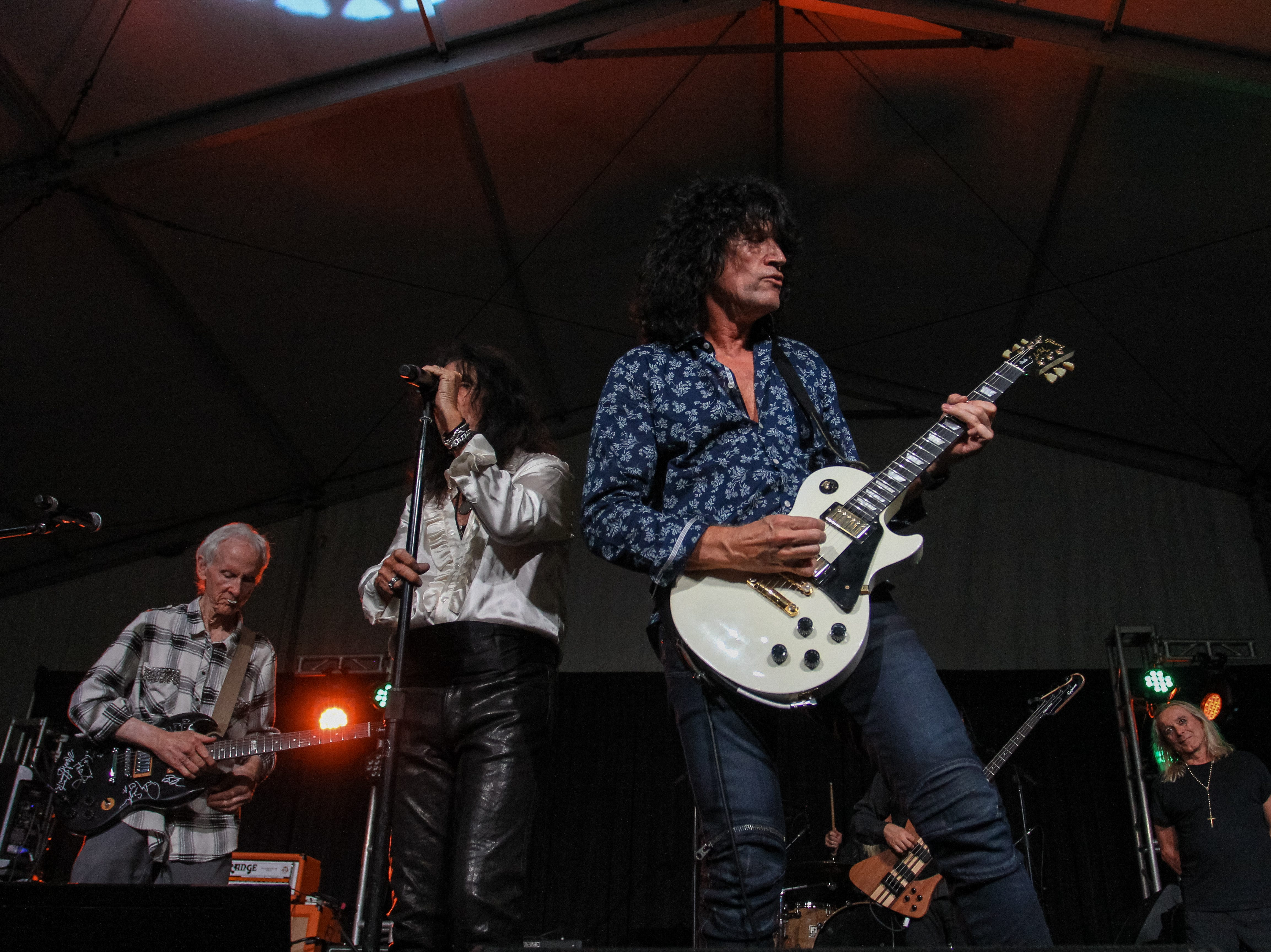 Alice Cooper, Tommy Thayer of Kiss, Robby Krieger of The Doors and Robin Zander of Cheap Trick perform at Alice Cooper's Rock & Roll Fundraising Bash at the Las Sendas Golf Club in Mesa on April 27, 2019.