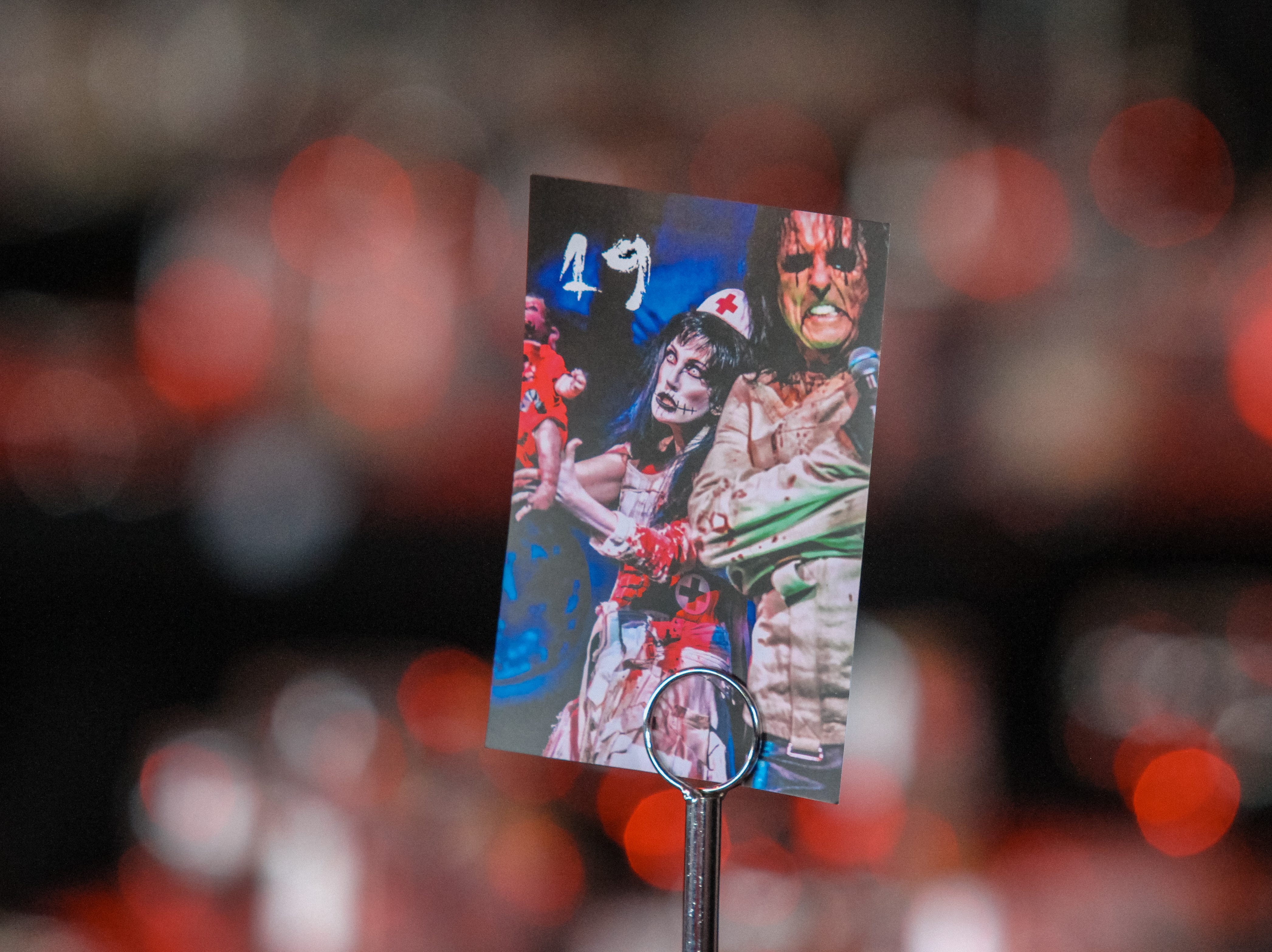 A placeholder at Alice Cooper's Rock & Roll Fundraising Bash at the Las Sendas Golf Club in Mesa on April 27, 2019.