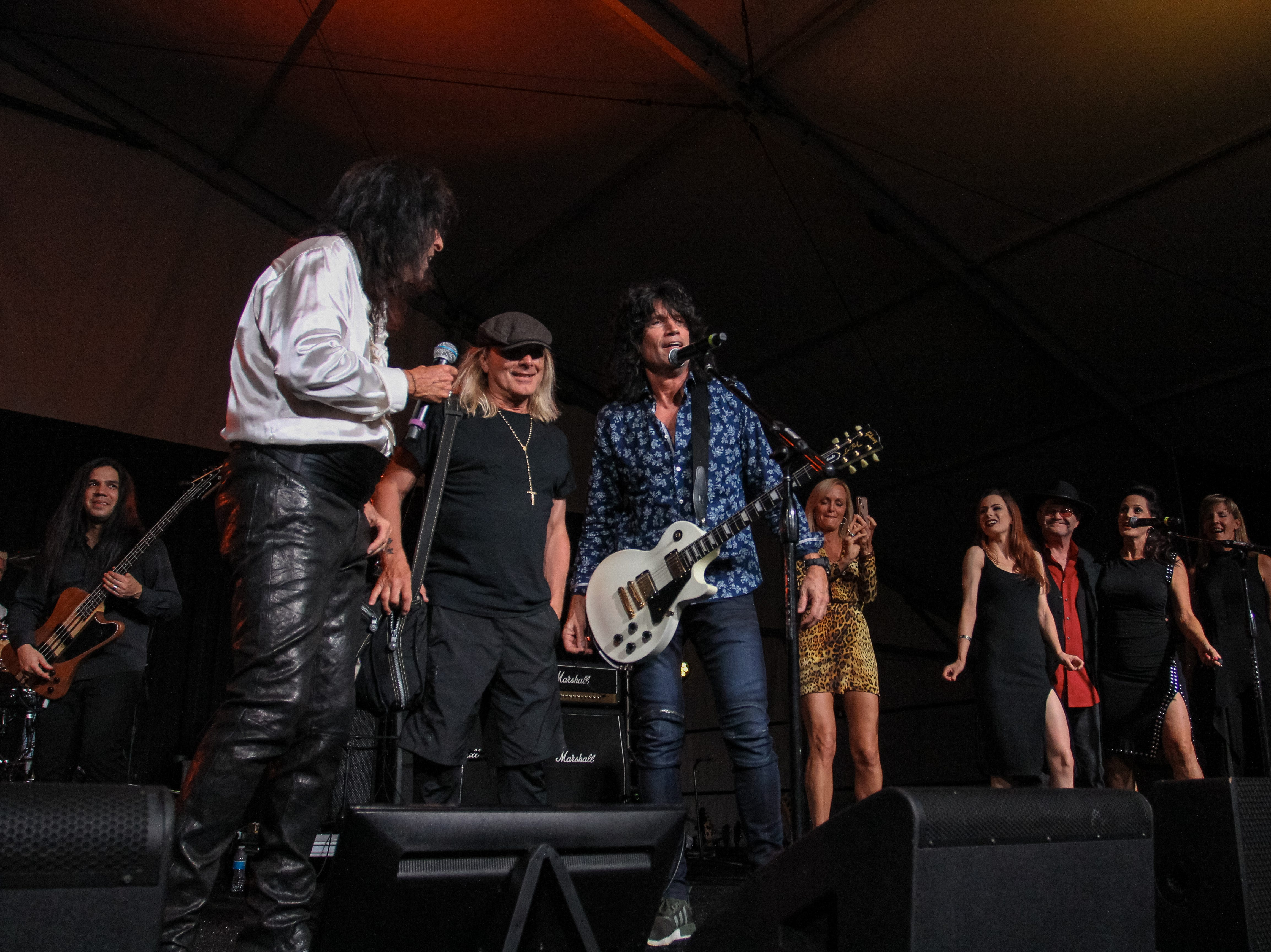 Alice Cooper, Tommy Thayer of Kiss, Micky Dolenz of The Monkees and Robin Zander of Cheap Trick perform at Alice Cooper's Rock & Roll Fundraising Bash at the Las Sendas Golf Club in Mesa on April 27, 2019.