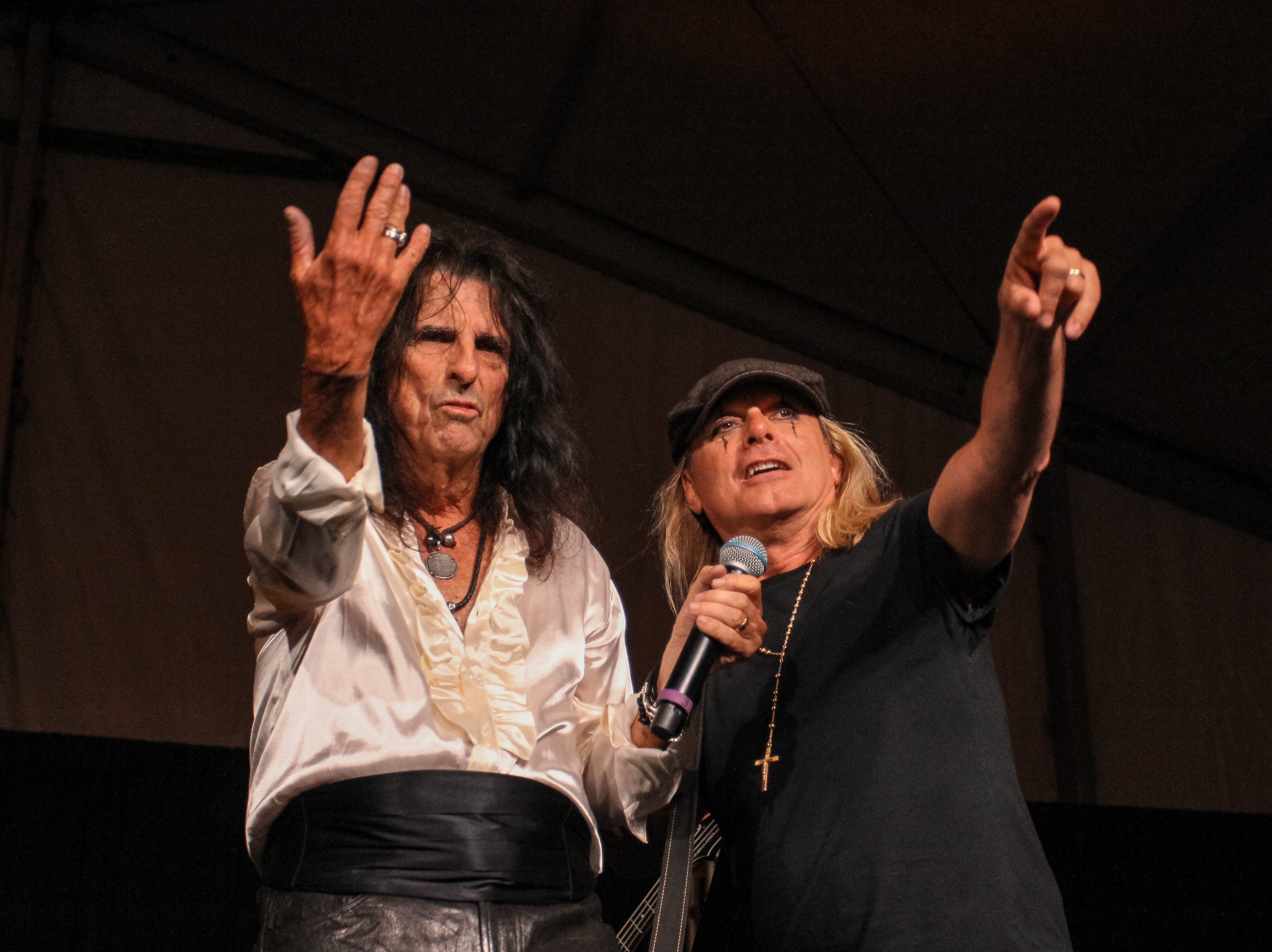 Alice Cooper and Robin Zander of Cheap Trick preform at Alice Cooper's Rock & Roll Fundraising Bash at the Las Sendas Golf Club in Mesa on April 27, 2019.
