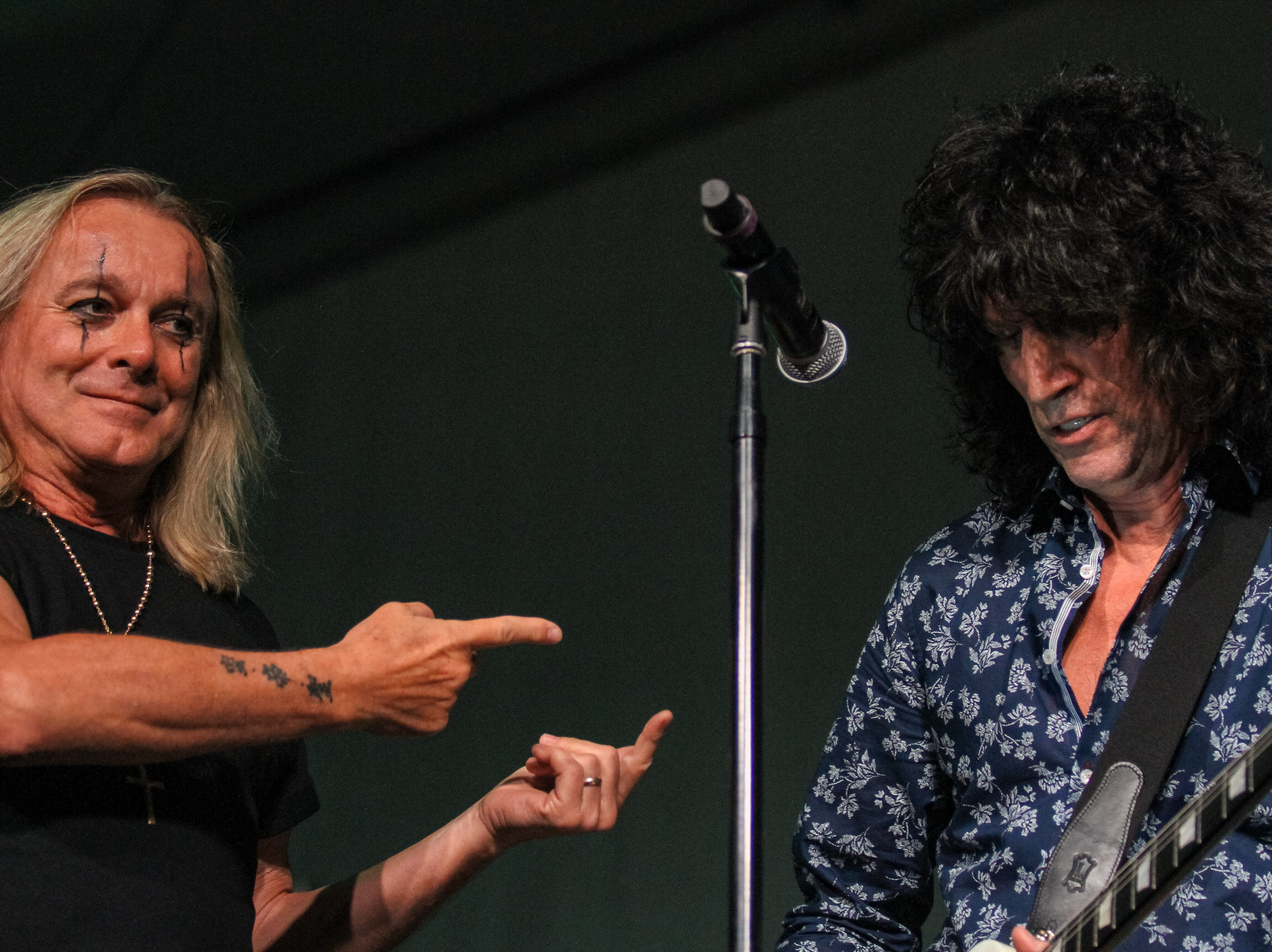 Tommy Thayer of Kiss and Robin Zander of Cheap Trick perform at Alice Cooper's Rock & Roll Fundraising Bash at the Las Sendas Golf Club in Mesa on April 27, 2019.