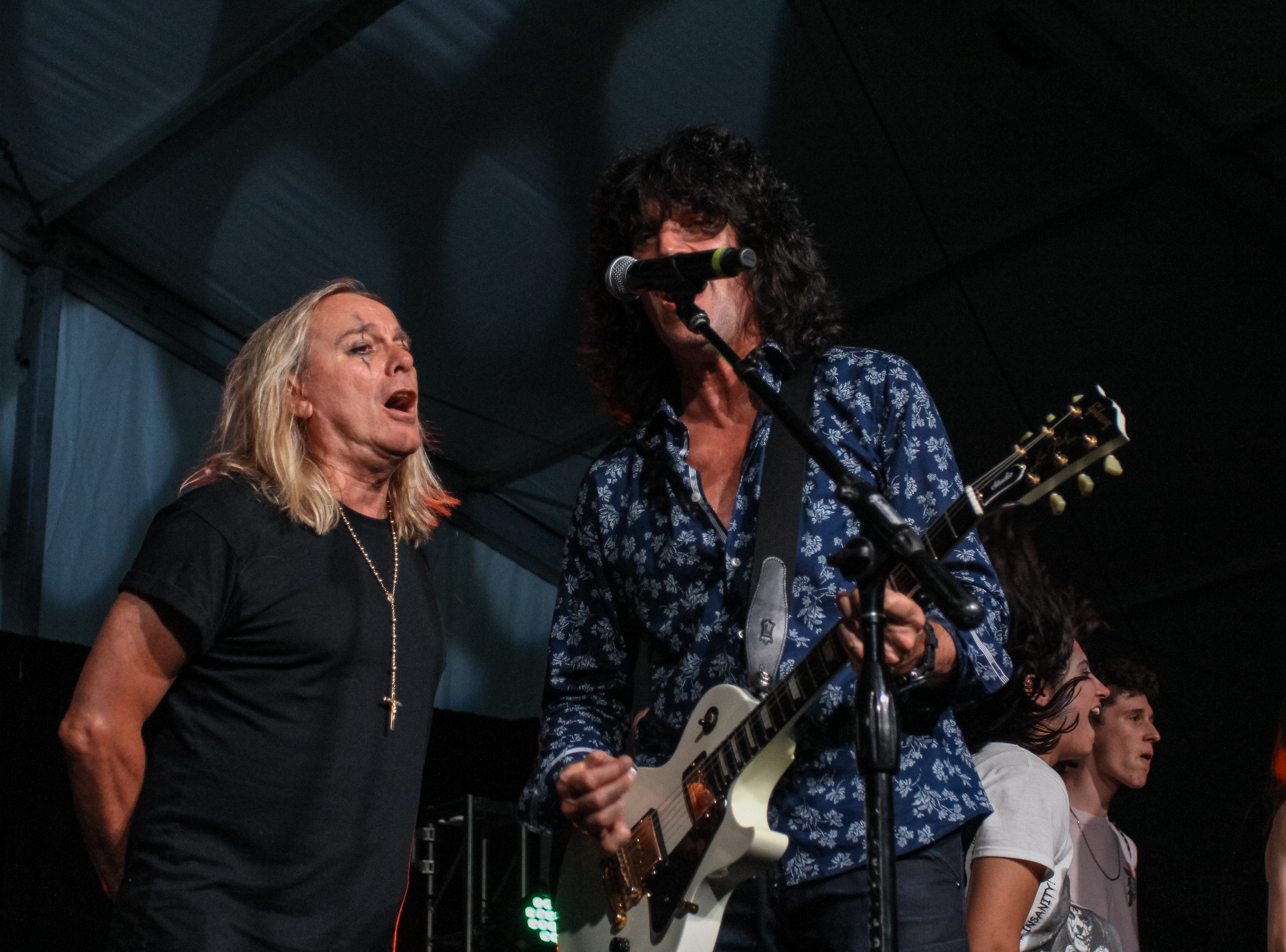 Robin Zander of Cheap Trick and Tommy Thayer of Kiss preform at Alice Cooper's Rock & Roll Fundraising Bash at the Las Sendas Golf Club in Mesa on April 27, 2019.