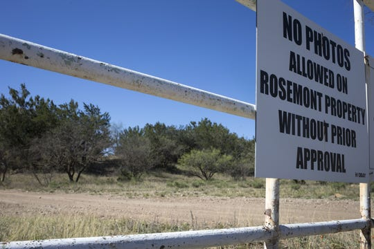 A Hudbay sign, April 24, 2019, on the proposed Rosemont Mine site.