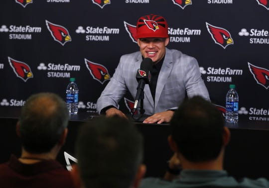Byron Murphy talks to the press during his introductory press conference at the Cardinals Training Facility in Tempe, Ariz. on April 27, 2019.