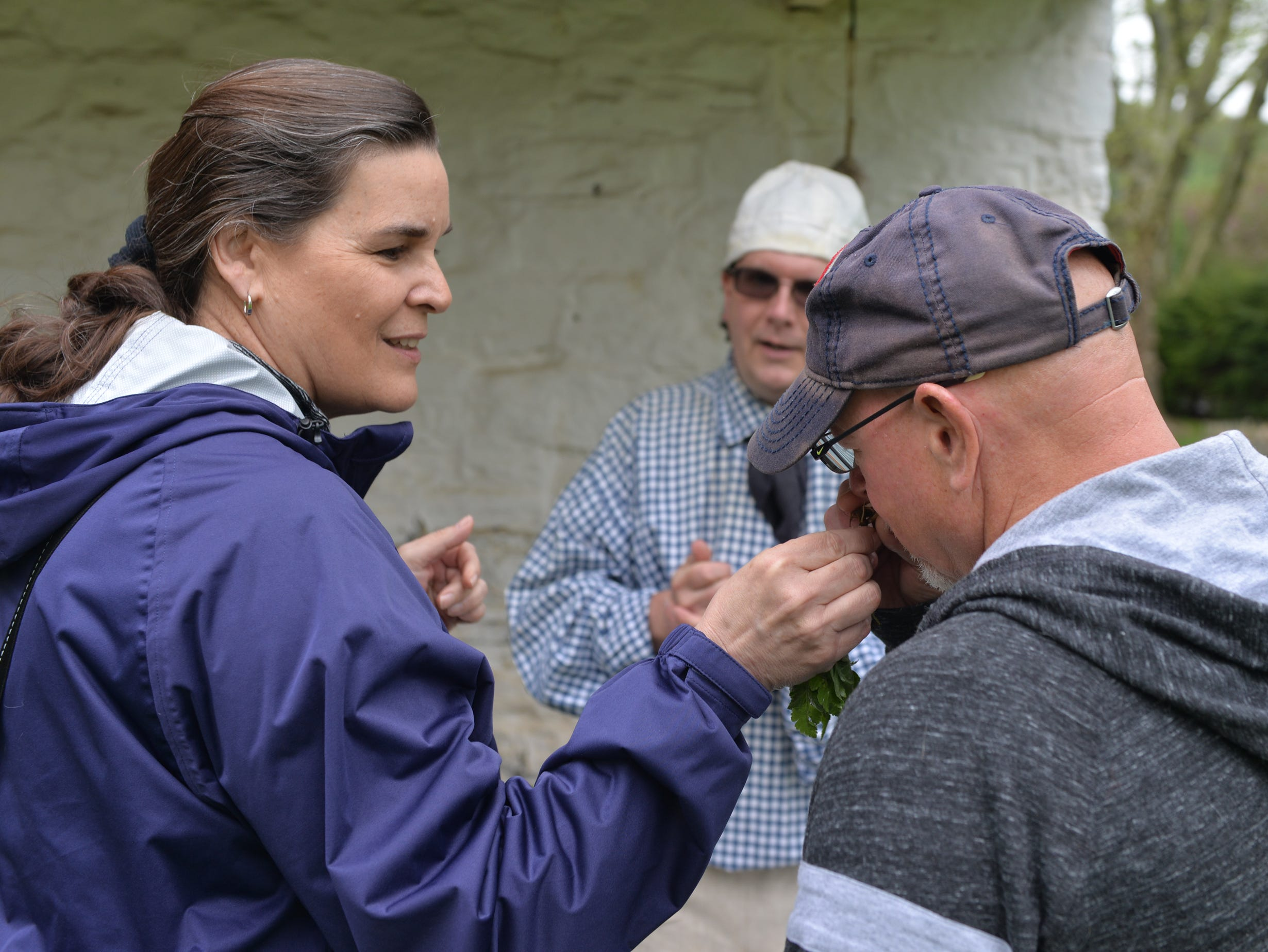 Dave Sonnen invited visitors to 'Making Sense of History' to touch and smell the fragrant herbs at a special living history program held at The Conrad Weiser Homestead in Womelsdorf on Sunday, April 28, 2019.