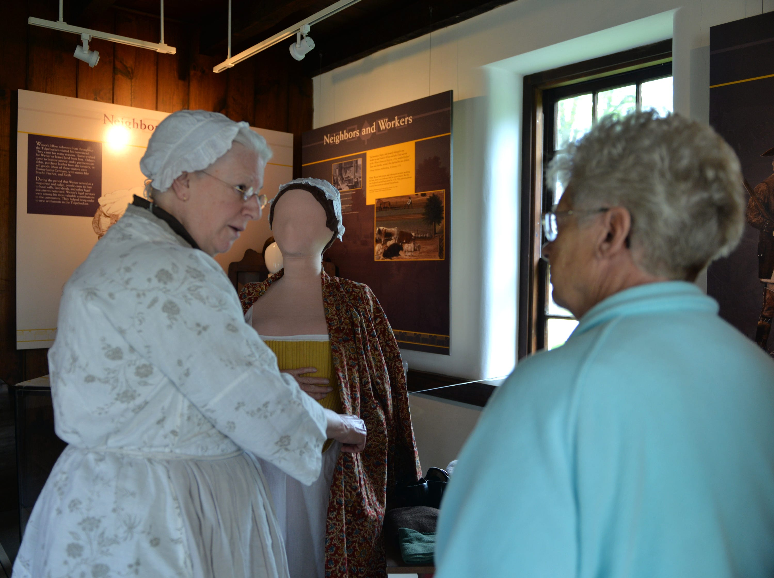 Joyce Bucci provides insight into Colonial garments during Making Sense of History a special living history program that focused on the senses held at The Conrad Weiser Homestead at Womelsdorf, Pa on Sunday, April 28, 2019.