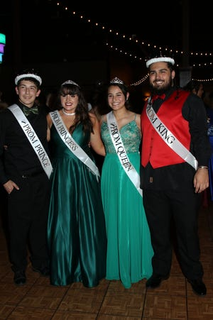 Prince Zayne Manning, Princess Zoe Hines, Queen Marisol Fick, and King Reece Taylor, from left, were crowned at Port Clinton's 2019 Prom, held Saturday April 27th at Lyman Harbor in Sandusky.