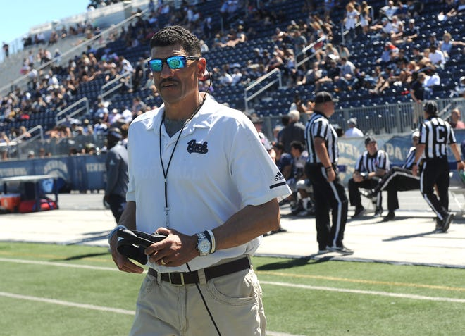 Wolf Pack head coach Jay Norvell prepares to direct his team during an intra-squad game at Mackay Stadium.