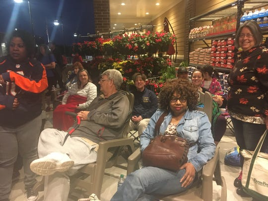 Tess Dancause (center of second row center, wearing dark blue sweathshirt), 48, a Marcus Whitman English teacher from Gorham, Ontario County, was sixth in line for the opening of Wegmans' 99th store.