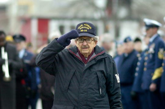 Stanley Hwalek at a Pearl Harbor ceremony at the Charlotte Pier in Rochester in 2004.