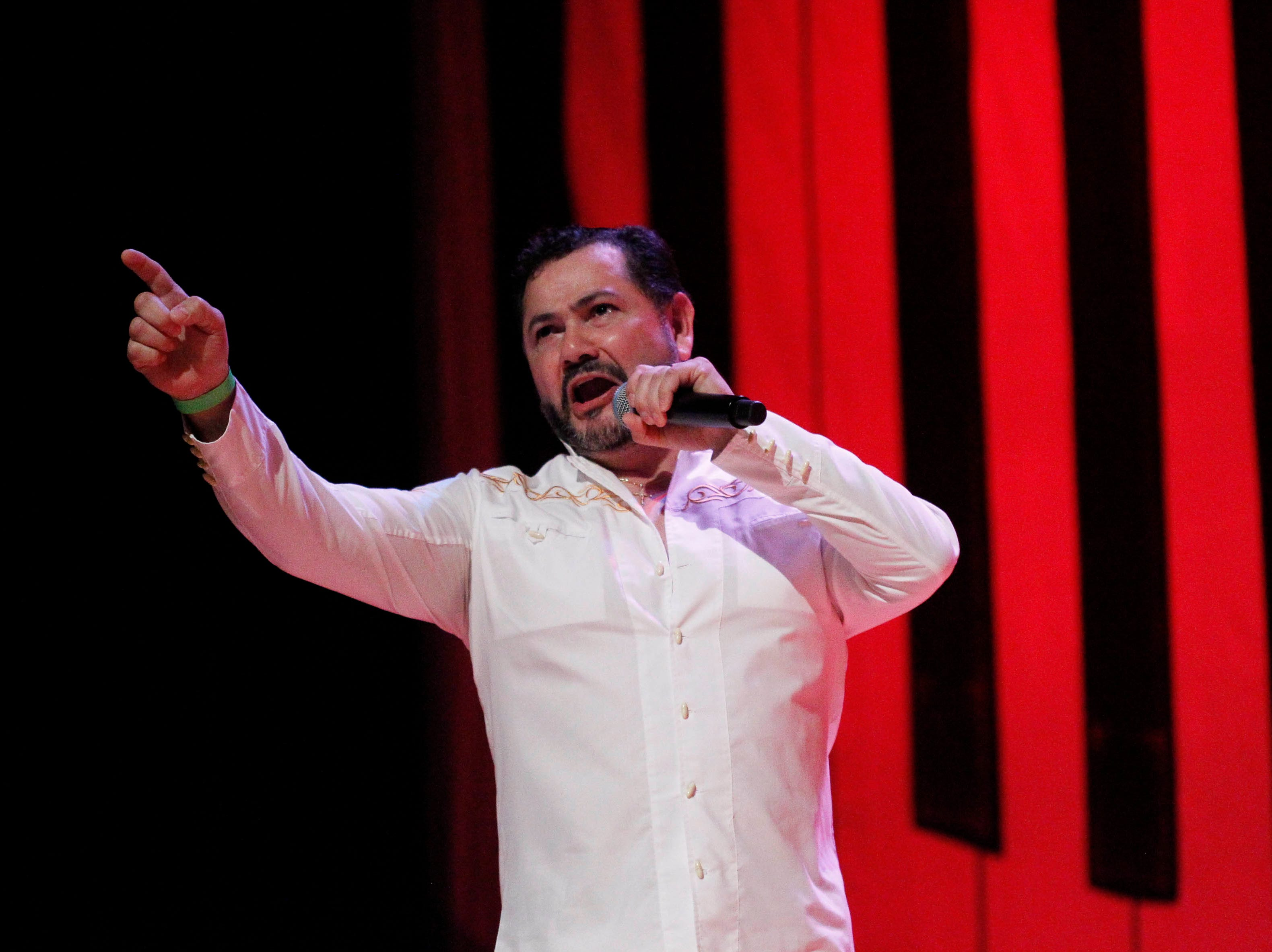 Félix Martinez sings during the 12th annual Noche Bohemia at Sherwood Hall on Saturday, April 27, 2019 in Salinas, Calif.