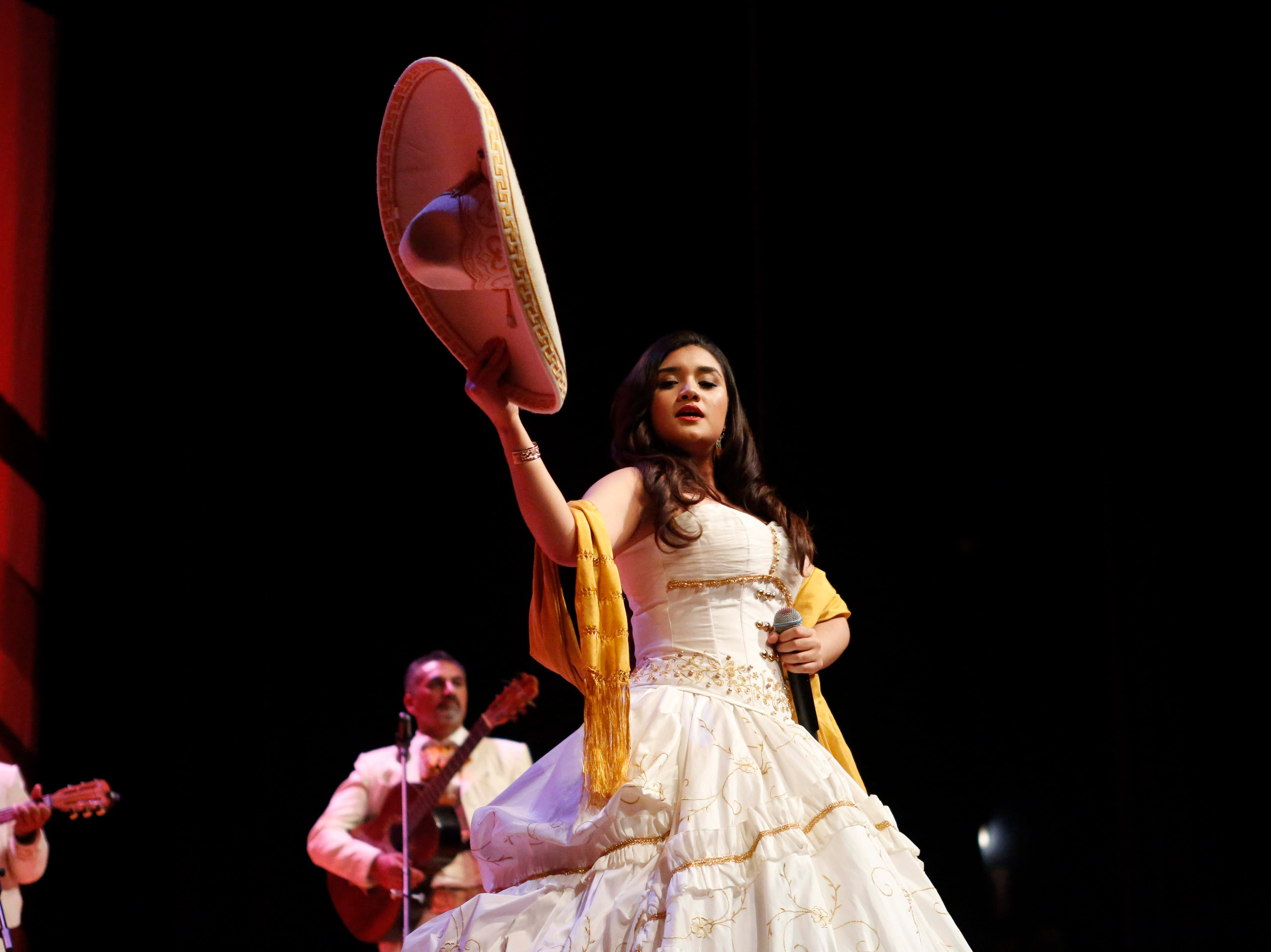 Gabriela Sepúlveda sings during the 12th annual Noche Bohemia at Sherwood Hall on Saturday, April 27, 2019 in Salinas, Calif.