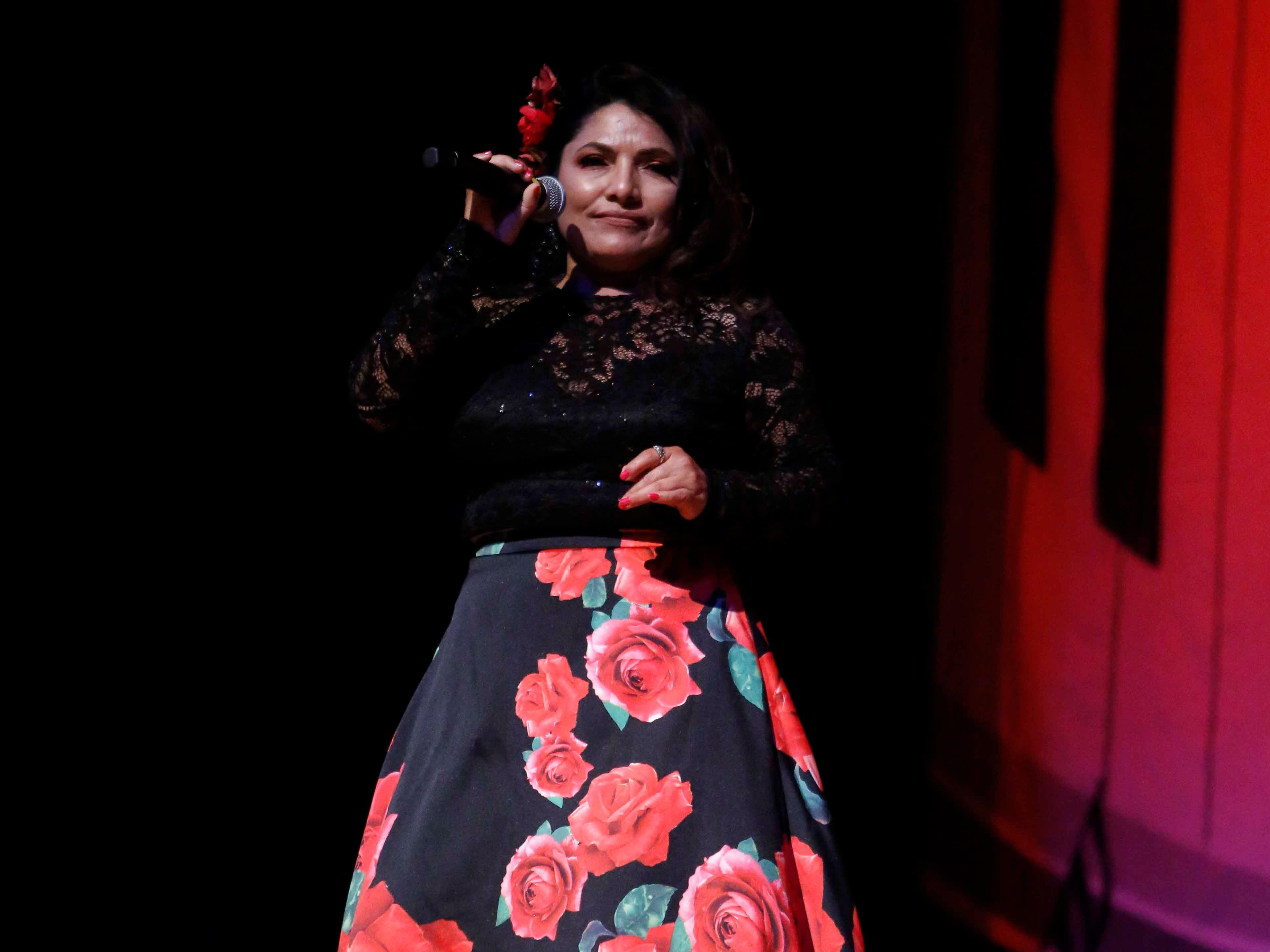 Alexa Garma sings during the 12th annual Noche Bohemia at Sherwood Hall on Saturday, April 27, 2019 in Salinas, Calif.