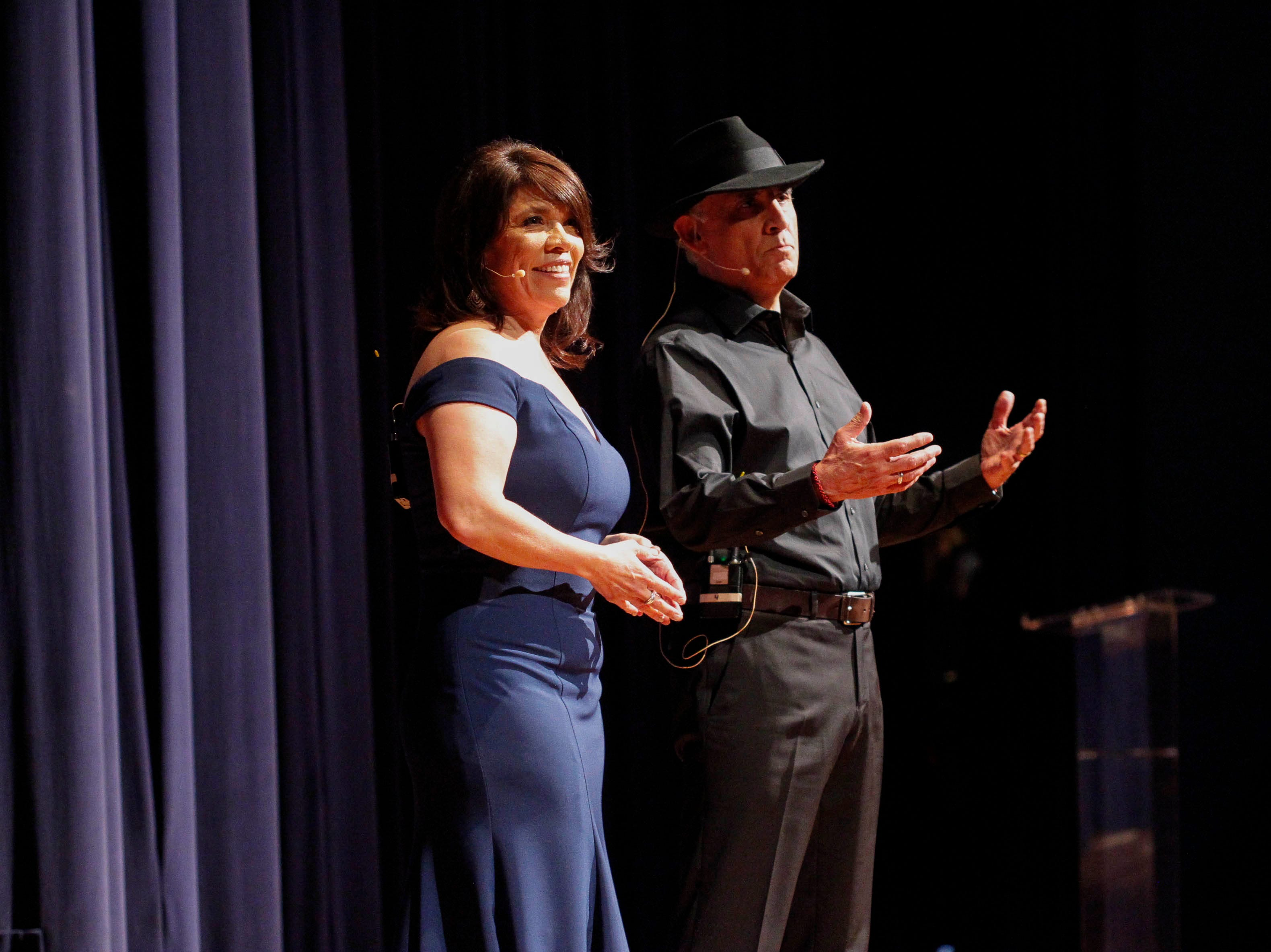 Adela Castillo and Jose Alejandro Moran address the attendees during the 12th annual Noche Bohemia at Sherwood Hall on Saturday, April 27, 2019 in Salinas, Calif.