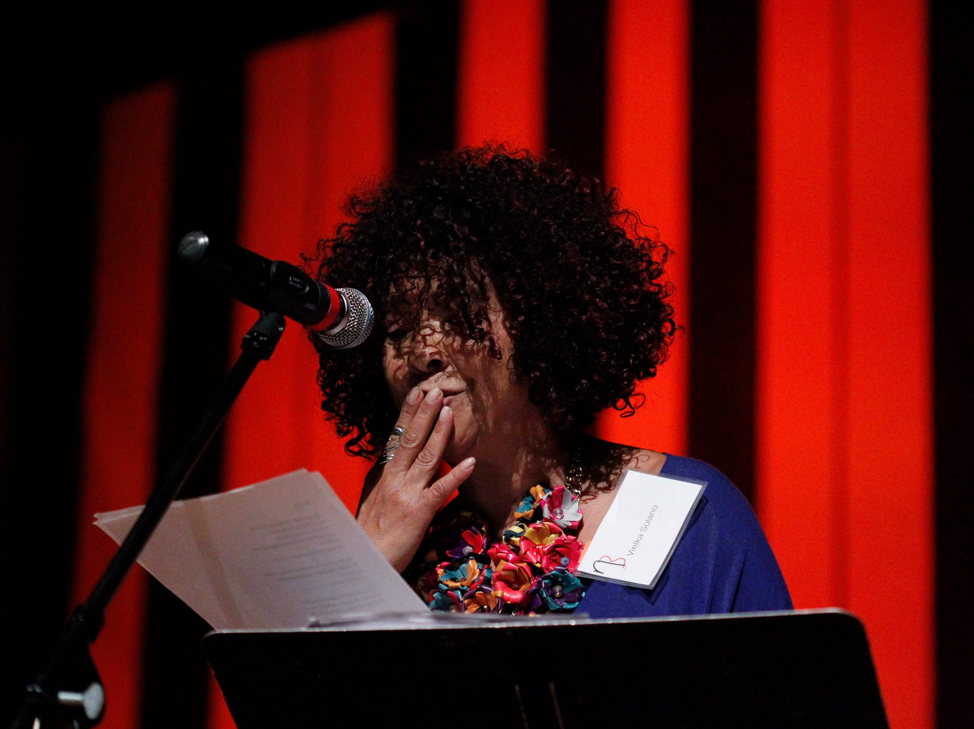 Author Vielka Solano performs a dramatic reading during the12th annual Noche Bohemia at Sherwood Hall on Saturday, April 27, 2019 in Salinas, Calif.