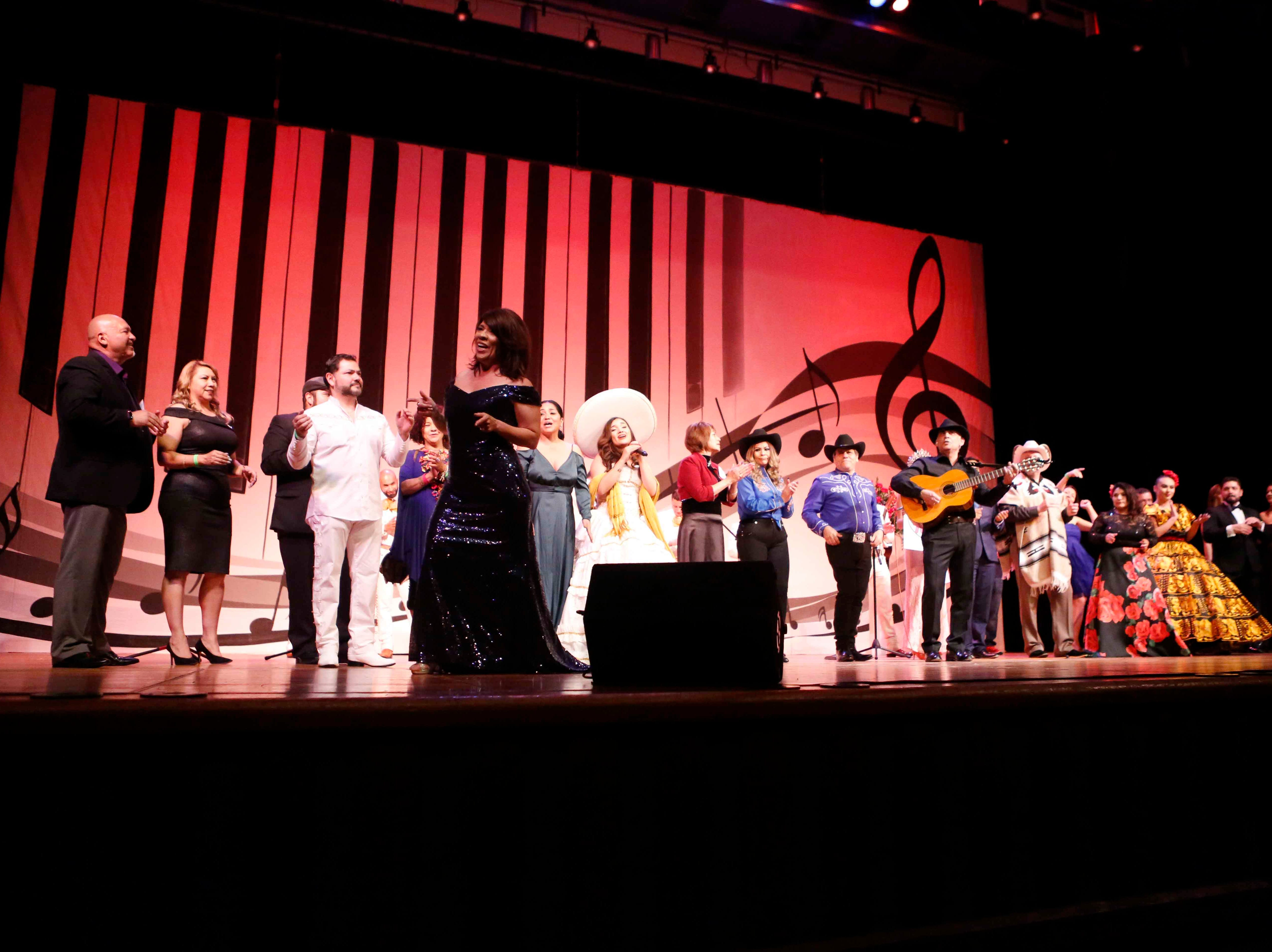 All the performers on stage as the12th annual Noche Bohemia concludes at Sherwood Hall on Saturday, April 27, 2019 in Salinas, Calif.