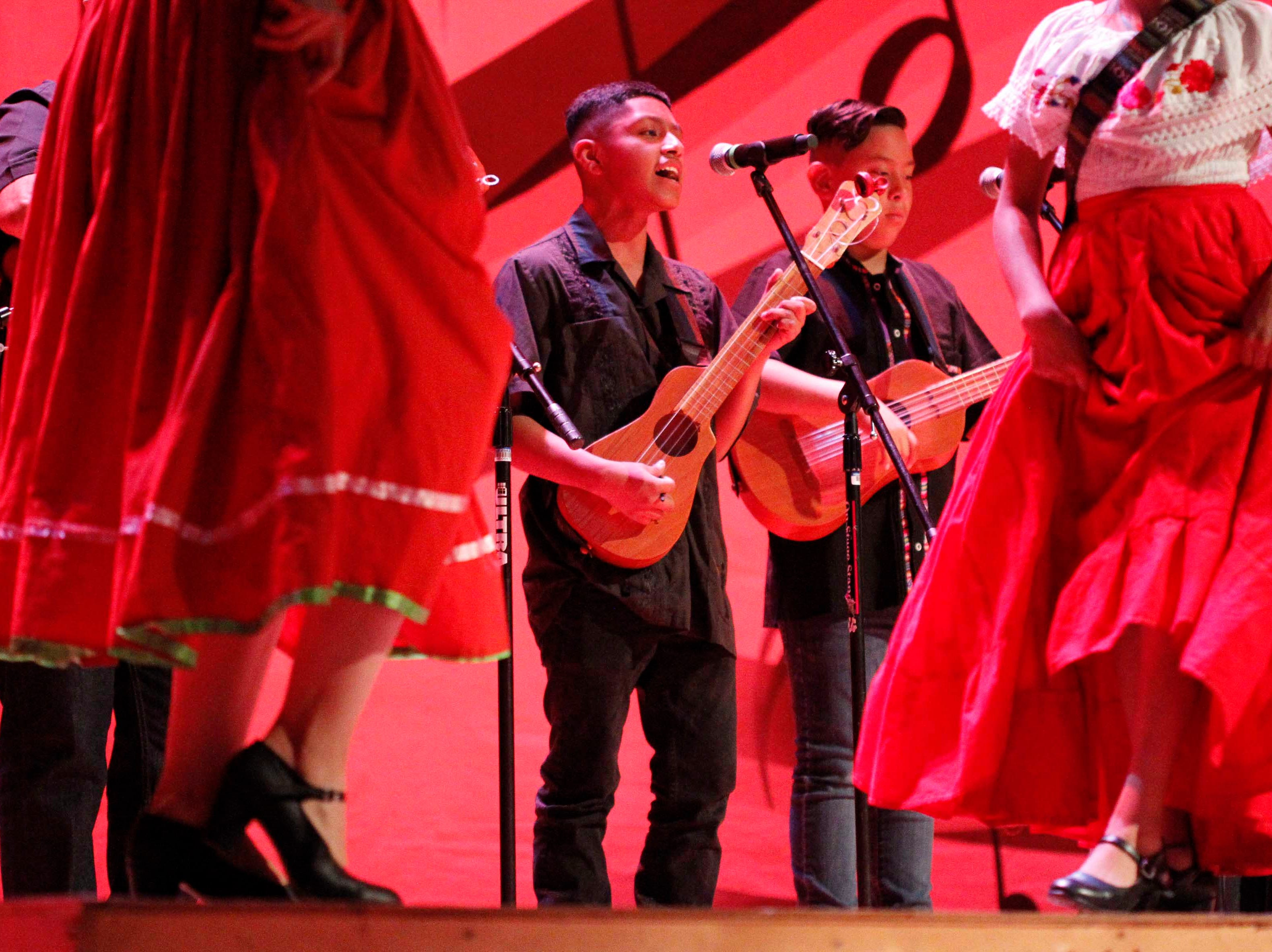Son Jarocho Tradiotional performs during the first part of the 12th annual Noche Bohemia at Sherwood Hall on Saturday, April 27, 2019 in Salinas, Calif.