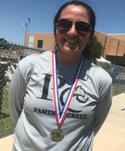 Panther Creek's Glenda Parra was second in the girls discus throw at the Region II-1A Track and Field Championships Saturday, April 27, 2019, at Angelo State University.