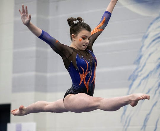 San Angelo Central's Jadyn Sawyer competes on balance beam during Day 2 of the Texas High School State Gymnastics Championships in Bryan Saturday, April 27, 2019. The Lady Cats won their ninth team title.