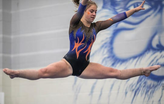San Angelo Central's Madison Vogel competes on balance beam during Day 2 of the Texas High School State Gymnastics Championships in Bryan Saturday, April 27, 2019. The Lady Cats won their ninth team title.