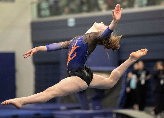 San Angelo Central's Savanna Razani competes on floor during Day 2 of the Texas High School State Gymnastics Championships in Bryan, Saturday, April 27, 2019.