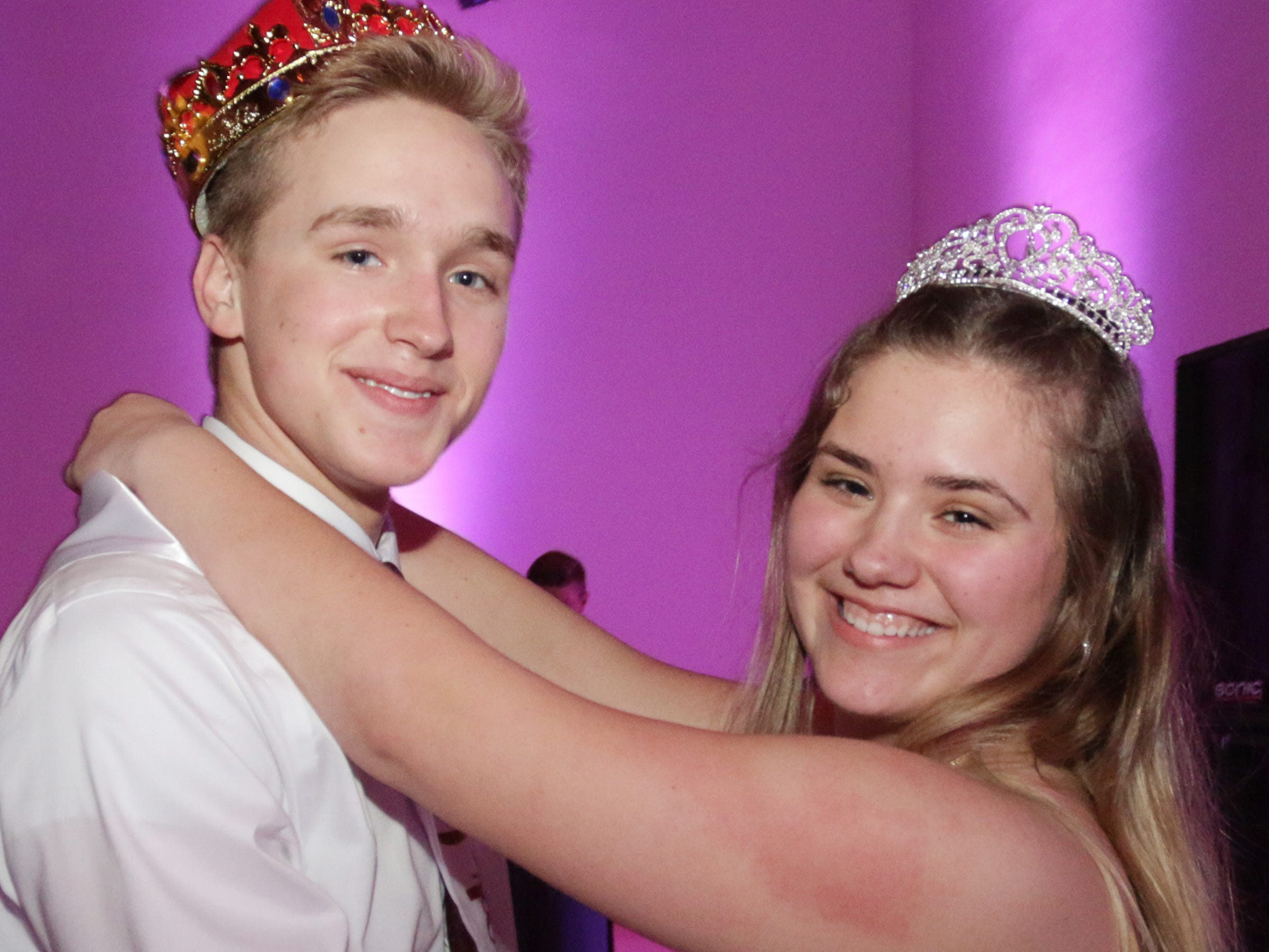 King Jackson Pond and Queen Emma Cinealis smiles at the Sheboygan North Prom at the John Michael Kohler Arts Center.