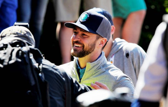 Justin Timberlake at the second Celebrity Shootout during Bass Pros Legends of Golf Sunday, April 28, 2019.